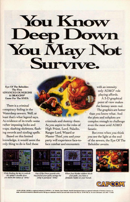 Advanced Dungeons and Dragons - Eye of the Beholder Ad